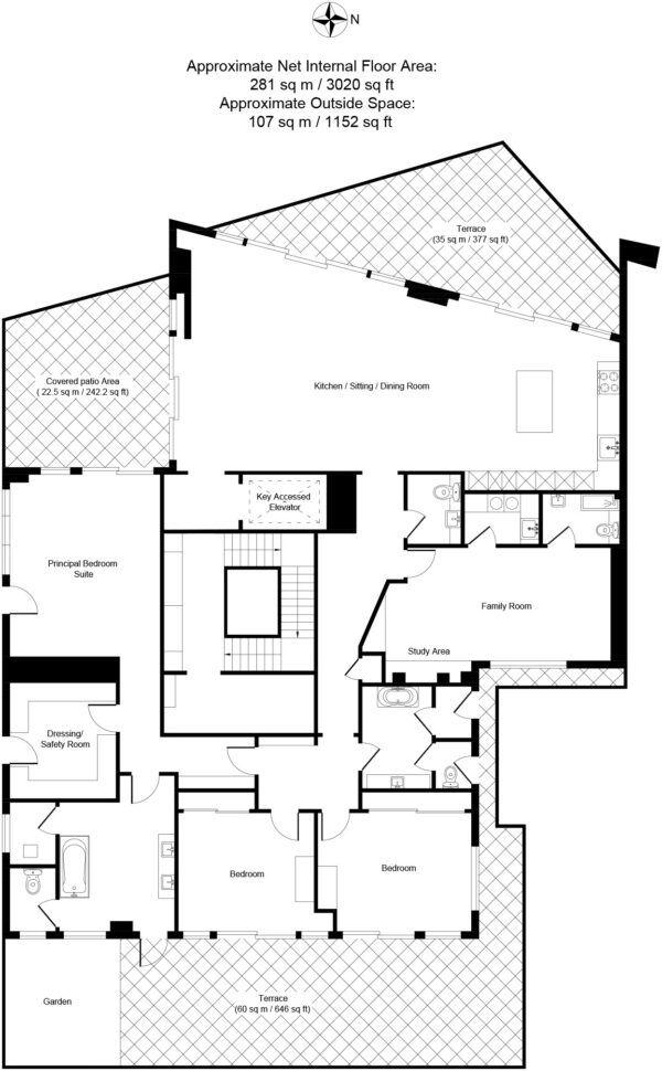 Gal Yam project, Herzeliya Pituach, Luxury residence Penthouse-B17 Blueprint